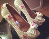 Statement Shoes Made With Pearls And Little Kitty Faces, Bridal Shoes, Pearls High Heels,  Stilettos Custom Made Shoes