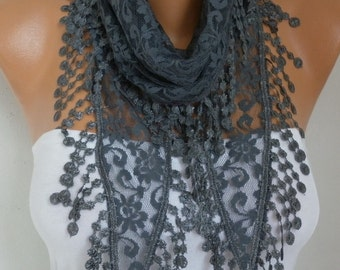 Gray Lace Scarf Spring Summer Scarf Shawl Cowl Scarf Bridesmaid Gift Gift Ideas For Her Women's Fashion Accessories
