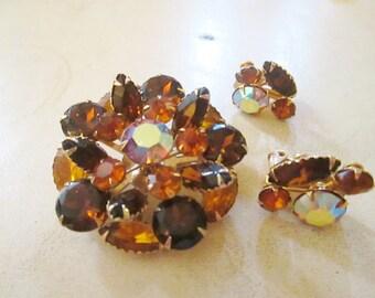 LOVELY smokey topaz yellow sun GOLD tone AB  rhinestones brooch earrings set