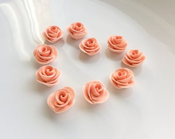 Coral rose beads for bracelet necklace making handsculpted from polymer clay