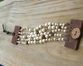 Beaded Leather Cuff Bracelet - Pearls and Crystals