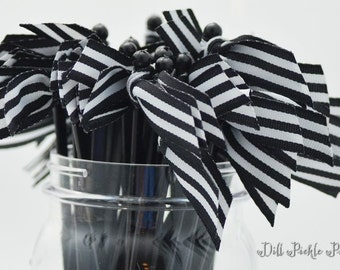 Black & White Stripe Grosgrain Ribbon Cocktail Stirrers - 25 count black stir sticks