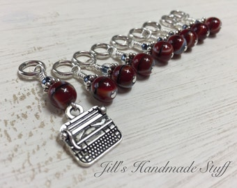 Knitting Stitch Markers- Vintage Typewriter Gift- Snag Free Beaded Stitch Markers-  Crochet Tools- Gifts for Knitters