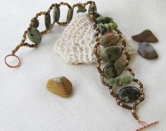 Rainforest Rhyolite and Green Garnet Bracelet