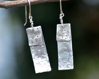 Hammered Earrings. Silver Dangle Earrings. Minimalist Earrings.Geometric Silver Earrings.Rectangle Earrings.Bar Earrings.Handmade Earrings