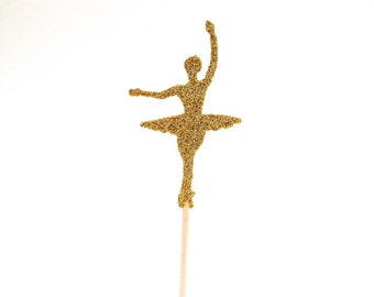 12 Gold Glitter Ballerina Cupcake Toppers