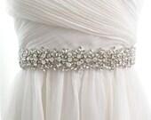 "NEW - Luxury Czech crystal wedding belt, rhinestone bridal sash, beaded crystal jeweled sash 1.5"" wide bridal sash - MIA"
