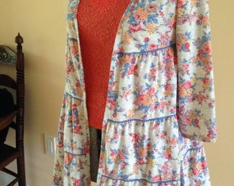 Retro Styled Floral Ruffled Duster Jacket
