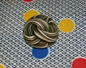 Neat Vintage Buffed Celluloid Cream and Grey Button with Swirl Spaghetti Pattern, 1 3/8 Inch Diameter