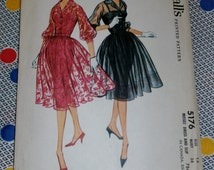"1959 Vintage McCalls Pattern 5176 Misses Sexy Party Dress Size 16, Bust 36"", Hip 38"", Waist 28"""