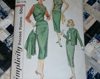 """Vintage 1960s Simplicity Pattern 2389, Skirt, Overblouse and Jacket Sz  11, Bust 31 1/2"""""""