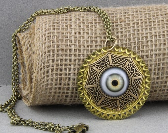 The Caged Eye Evil Eye Protection Hazel Eye Art Jewelry Necklace