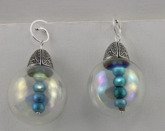 Handmade Glass Orb Earrings With Blue Beads and Sterling Silver Hooks