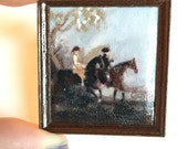 horse study- copy - OOAK historical painting in gilt carved resin  Frame - Dollhouse Size