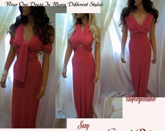 Beautiful Pink Sexy Infinity Dress, Convertible Dress, One Dress Many Looks, Bridesmaid Dress, Prom Party Gown, Bridesmaid Gown, Maxi Dress