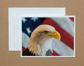 Set of 8 Notecards - Blank Inside - Bald Eagle and Flag