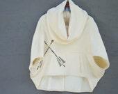 Arrow Block Print Cowl Sweatshirt - Natural Hemp and Organic Cotton Sweatshirt Fleece