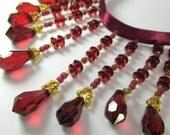 Marsala Dark Red and Metallic Gold 3 inch Graduated Medium Beaded Fringe Trim, Craft, Costume or Decorator Beaded Trim