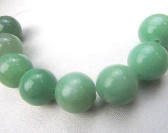 8 Large 12mm Green Aventurine Semiprecious Stone 12mm Smooth Round Moss Green Jewelry Beads