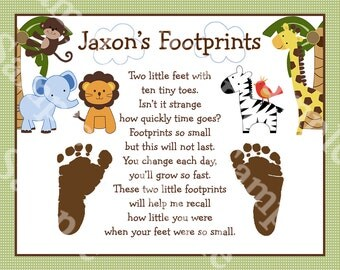 "Personalized ""Jungle Buddies Safari Pals Animals"" 8x10 Footprints Poem Nursery Art Print"