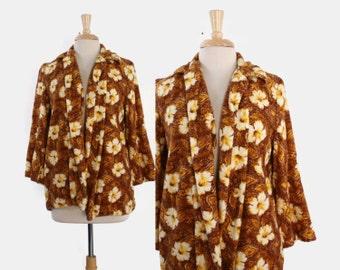 50s TROPICAL Hawaiian Terry Cloth COVER UP / 1950s Floral Print Towel Swing Beach Swim Jacket