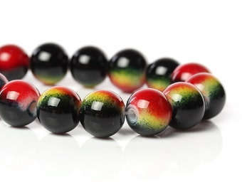 15 Airbrushed Glass Beads 10mm - Red, Yellow and Black - BD813