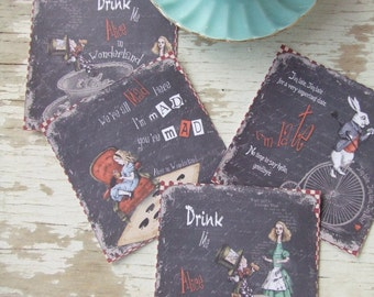 Alice in Wonderland notecards - Small Alice in wonderland cards - Gift tags - Alice Chalkboard notes -  scrapbooking - embellishments