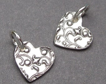 Silver Heart Charm,  Fine Silver PMC Heart Pendant, Artisan Heart Charm, Heart Bracelet Charm with Sterling Silver Jump Ring