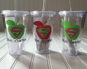 Teacher Gifts, I Teach Whats Your Superpower Personalized Tumbler, tumblr, teacher appreciation gift, teacher cups, apple tumbler