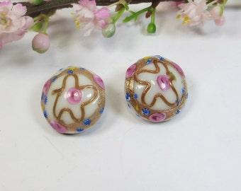 Murano Clip On Earrings, Vintage Murano Venetian Wedding Cake Clip Earrings, Pink & White Vintage Venetian Murano Wedding Cake Clip Earrings