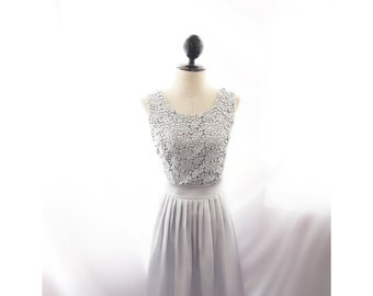 Gray Cocktail Dress Evening Gown Lace Victorian Elven Skater Prom Ethereal Romantic Artisan Flowy Edwardian Jane Austen Grey Bridesmaid