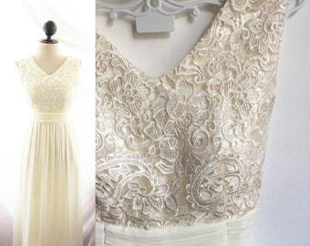 Dress Lace Wedding Dress Cocktail Evening Cream Jazz Age Rehearsal Dinner Prom Gown Bridesmaid Off White Elven Ethereal Lotr Romantic 2015