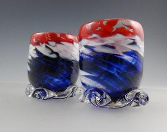 Set of Glassware/Votives USA Hand Blown Art Glass - Patriotic