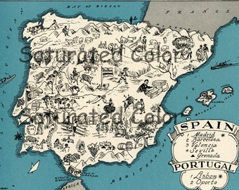 Spain Portugal Map ORIGINAL 1932 Vintage Picture Map Geography - Pictorial Fun Charming Antique Paul Spener Johst Whimsical Madrid Barcelona
