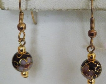 Vintage earrings, Chinese cloisonne floral drop earrings, pierced earrings, vintage jewelry