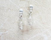 2 Spiral Cage Bright Silver European Charms