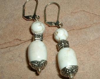 White Magnasite Dangle Earrings