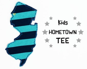 Hometown State Applique Tshirt for Kids- Made to Order