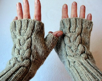 KNITTING PATTERN Celtic Diva Fingerless Mittens for Adults and Teens, Cable knit fingerless mitts