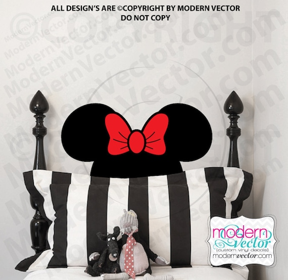 minnie mouse head vinyl wall decal room nursery disney. Black Bedroom Furniture Sets. Home Design Ideas