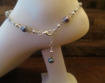 Rainbow Grey Freshwater Pearl Ankle Bracelet