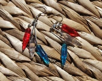 Red white & blue Lite Brite Earrings