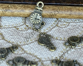 24 PCS of 10x16MM Antique Bronze  alarm clock Charms Pendant,pendant beads,jewelry findings, Charms Findings,pendant findings beads