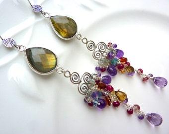 Labradorite Bezel, Silver Filigree, and Gemstone Cascade Earrings. Cluster beadwork. Drop Earrings. Chandelier Earrings.