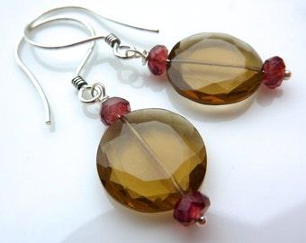 Cognac Quartz Drop Earrings. You choose accent gemstone- Ruby, Amethyst, or Garnet. Under 20.