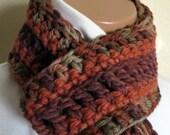 AUTUMN LEAVES 2 Scarf Handmade Crochet Scarflette Neckwarmer Cowl Infinity Fringe - OOAK