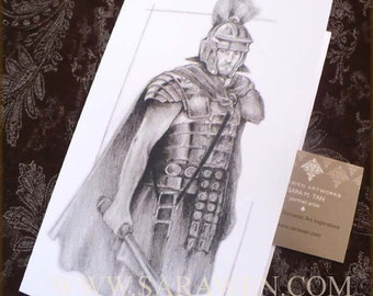 The COMMANDER Roman Soldier Greeting Card / Ancient Rome / Art Greeting Card / Rome