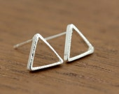 open triangle stud earrings, silver plated