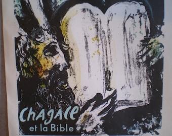 Original Vintage Mid Century French Chagall Lithograph Poster - Et La Bible