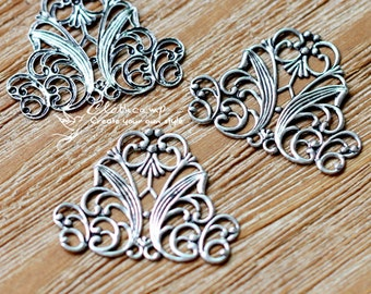 Antiqued Silver  plated RAW brass Filigree  Jewelry Connectors Setting Cab Base Connector Finding  (FILIG-AS-15)